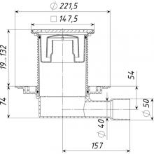 ТП-510PHs Трап ПП 50/40 гориз. выпуск решетка чугун 150х150 /гидрозатвор/