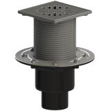 ТП-310.1Ds Трап ПП 110/75/50 верт. выпуск решетка нерж. сталь 150х150 /поплавковый сухой затвор/