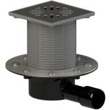 ТП-510.1(Hs+Ms) Трап ПП 50/40 гориз. выпуск решетка нерж. сталь 150х150/гидро+сухой мех. затвор/