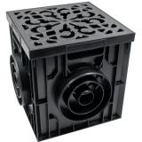 Дождеприемник пластиковый 300х300 в сборе с решеткой пластиковой, кл. А15 (черный)